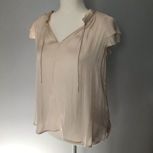 Flutter sleeve silk blouse